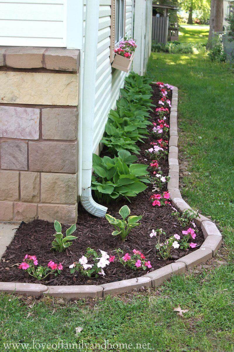 Simple Flower Bed with Brick Border