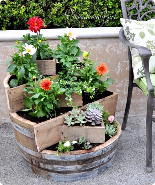 Homemade Wood Barrel Tiered Planter