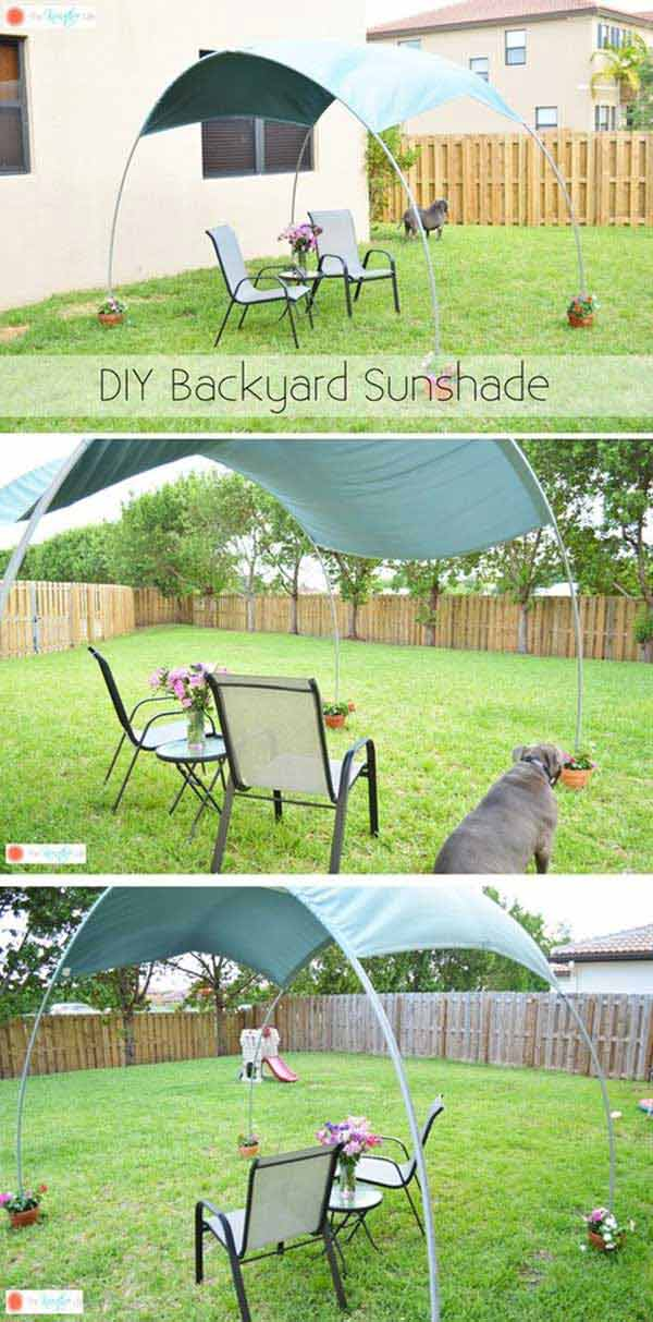Moveable Backyard Sun Shade Hoops