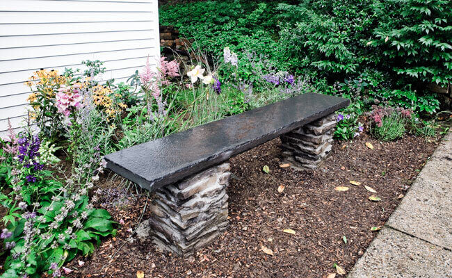 Stone and Slate Garden Bench
