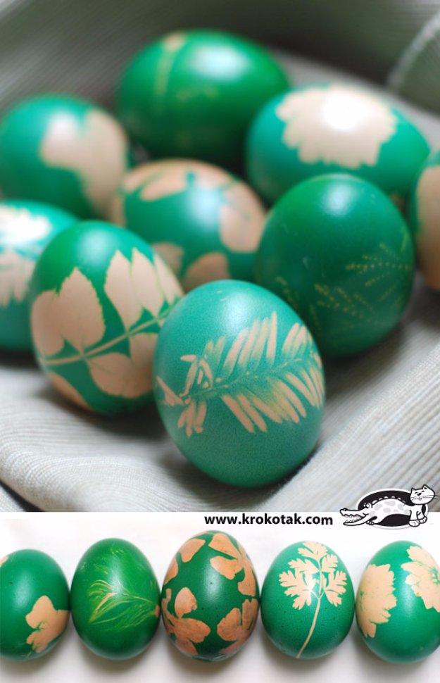 Easter Egg Dyeing With Grass And Flowers