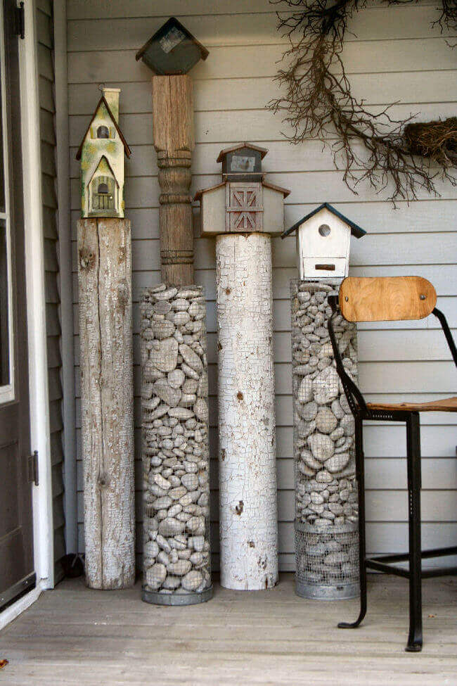 Rock Sculpture and Birdhouse Stand