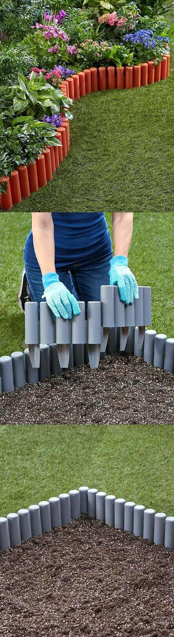 Painted PVC Stakes Around Flower Garden