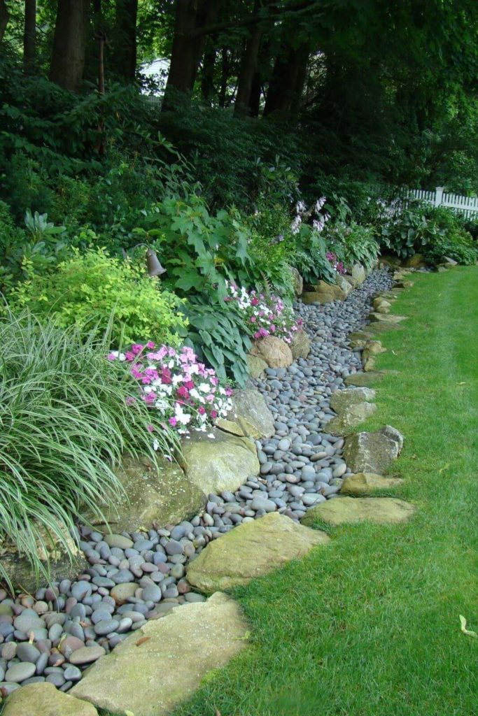 Garden's Edge with Large and Small River Stones