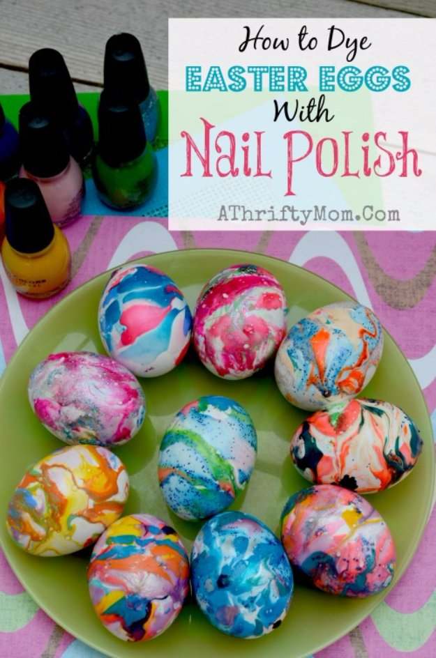 Nail Polish Swirl Easter Eggs