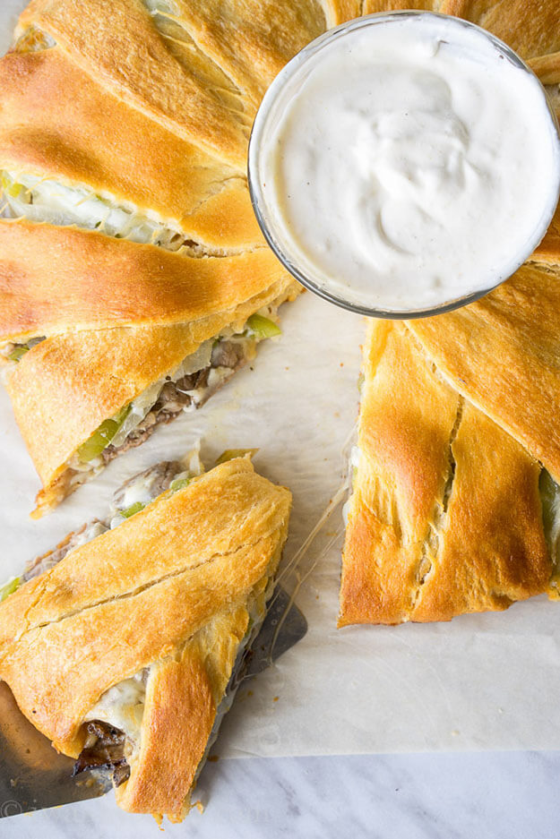 Philly Cheese Steak Crescent Ring