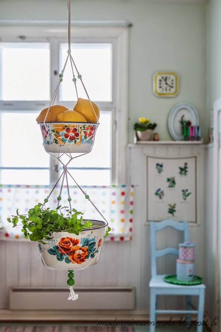 Kitschy Retro Two-Tiered Plant Hanger
