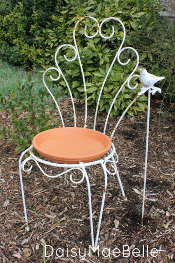 Easy DIY Bird Baths with Old Chairs