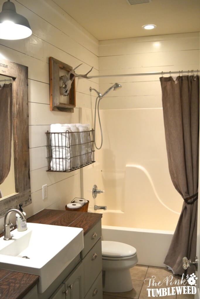 Hunter's Bathroom Featuring Shiplap and Hunting Trophy