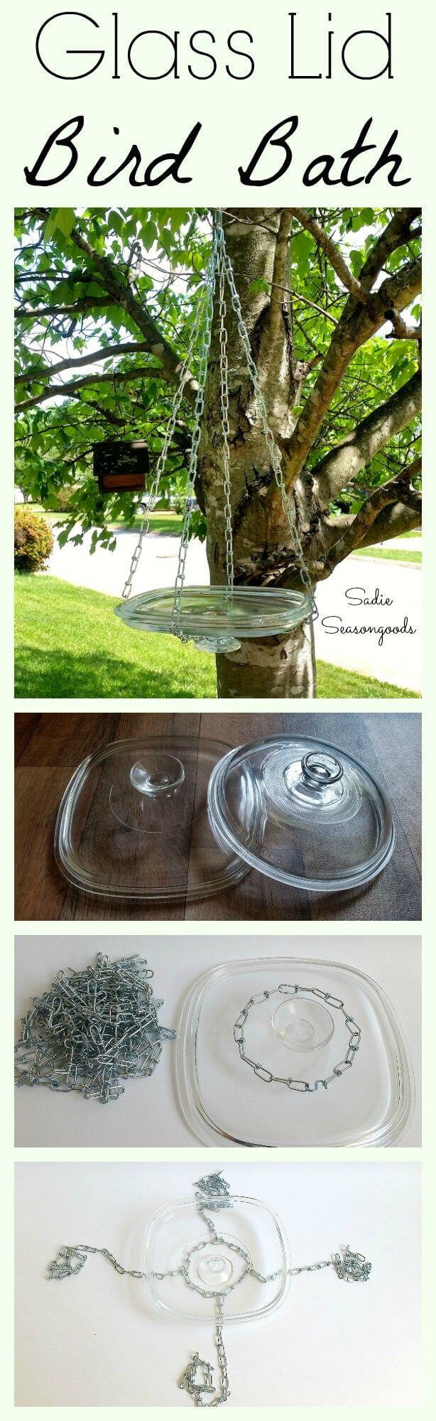 Hang a Glass Casserole Lid on Chains
