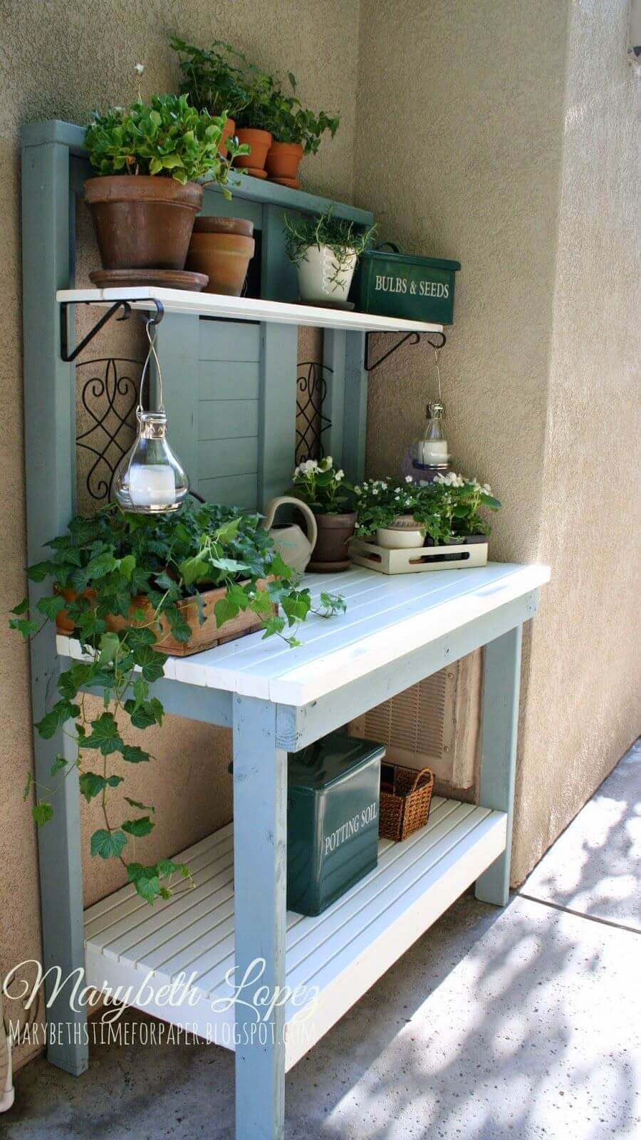 Pretty as a Picture Blue Potting Bench
