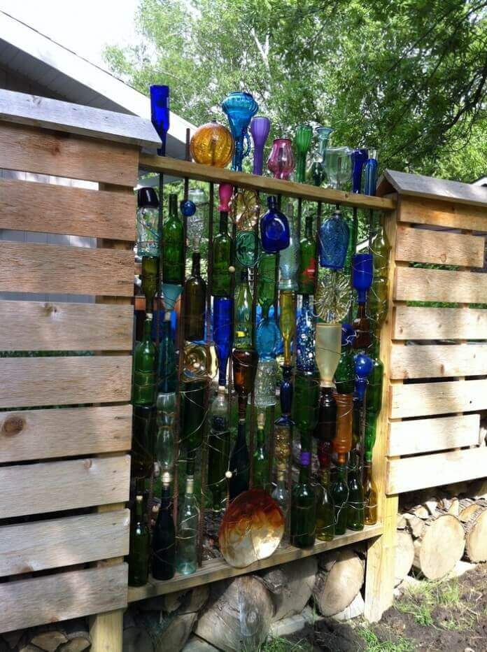 Upcycled Bottle Fence for the Garden