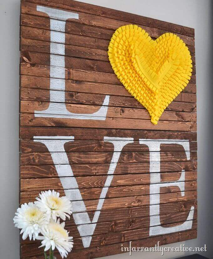 Ruffled Heart Hand-Painted Love Sign