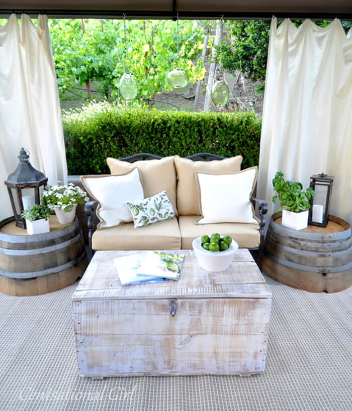 Light Mini Secluded Love Seat and Washtub Tables