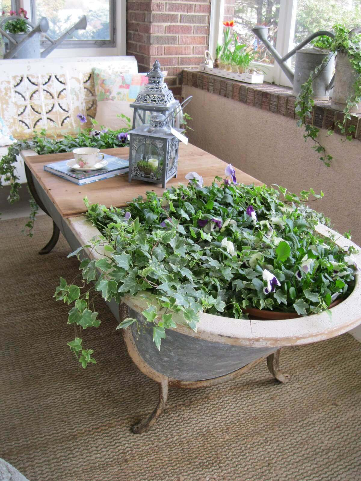 Cast Iron Tub with Pansies and Ivy