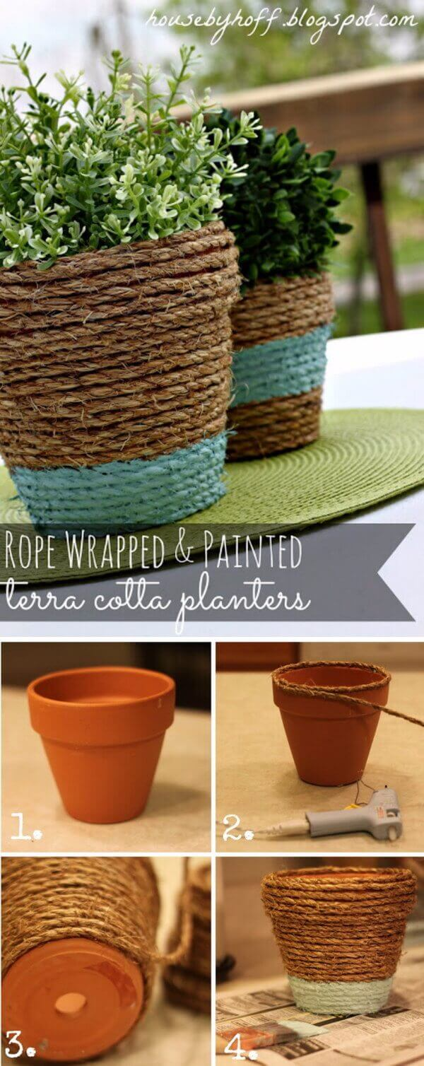 Easy Rustic Painted Rope Plant Holders