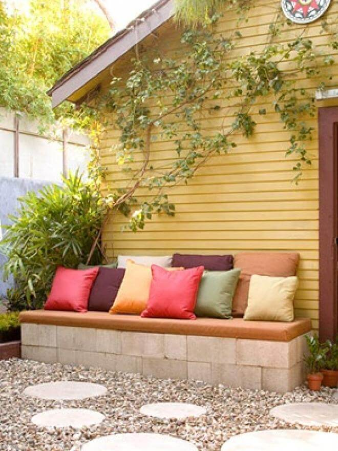 Cinder Block Built Base Bench with Cushions
