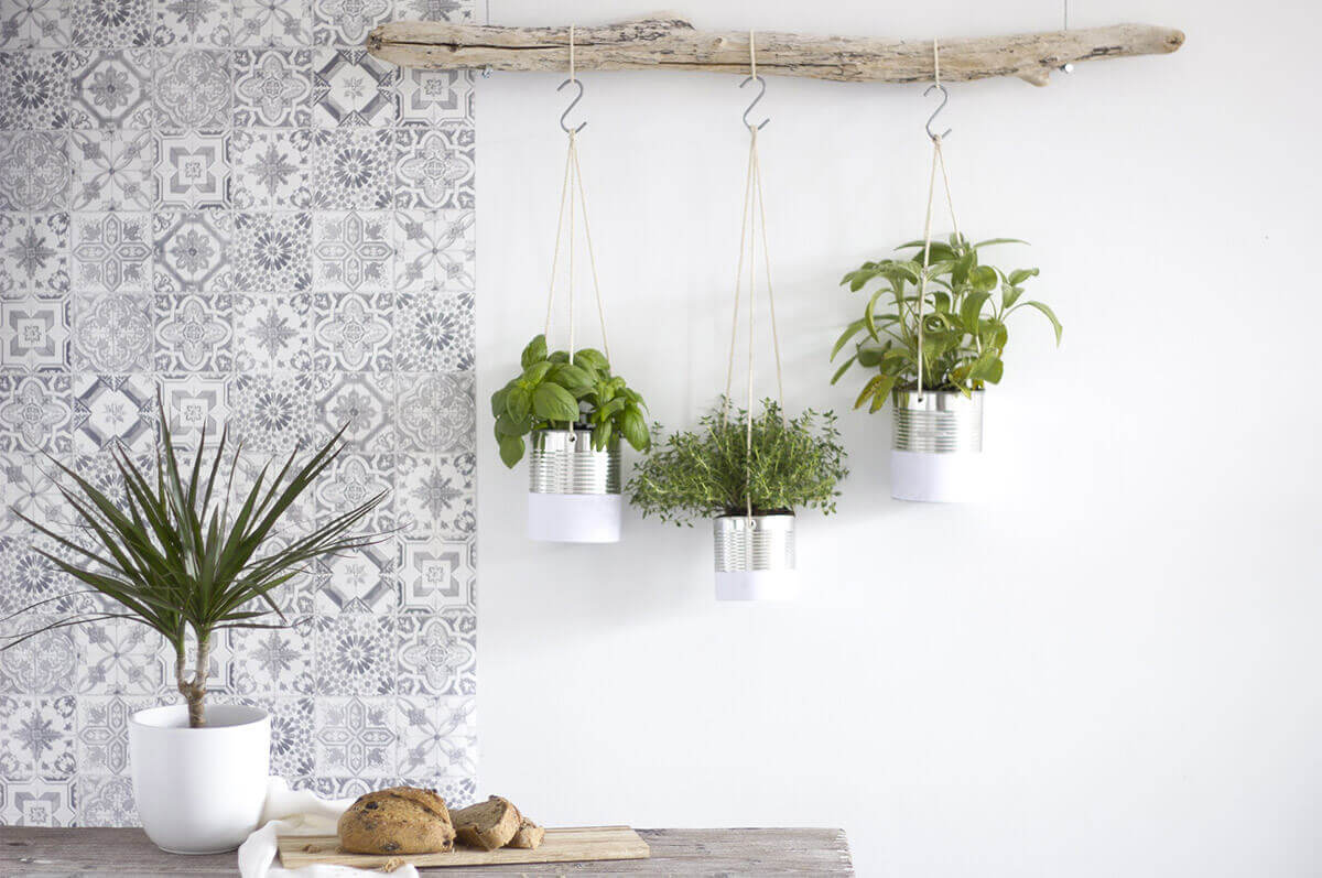 Nature-Inspired Driftwood and Tin Hanging Herb Garden