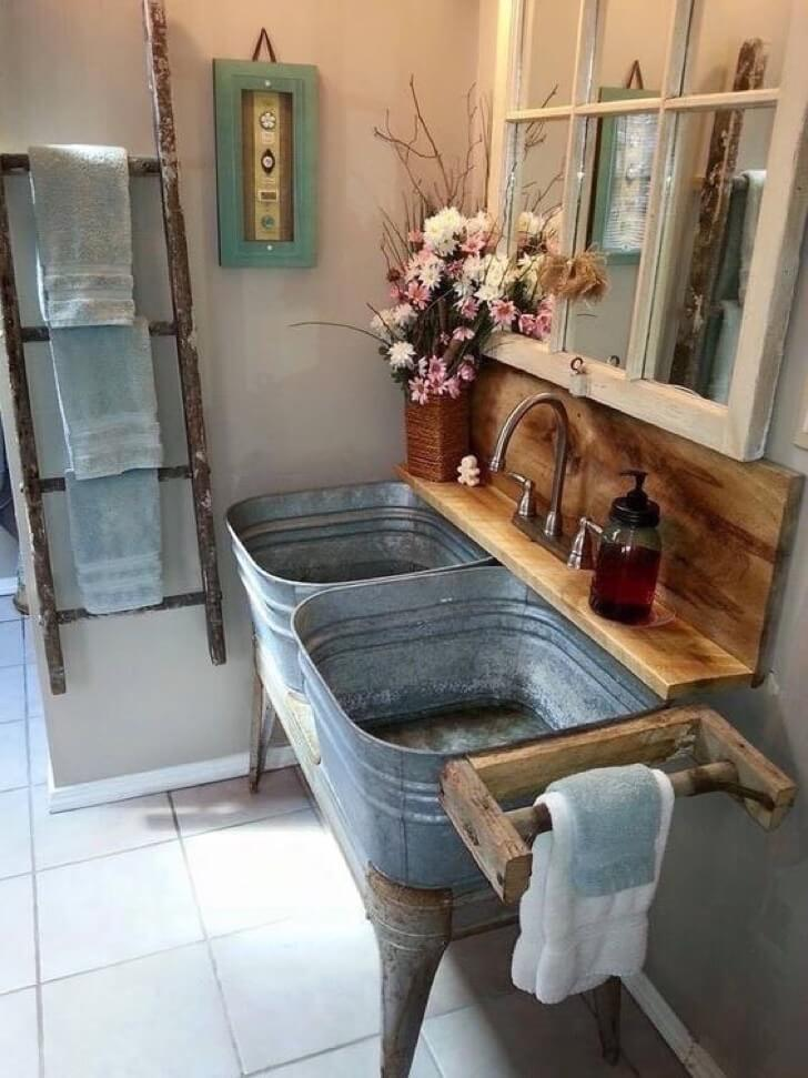 Double Sink Converted from Galvanized Washtubs