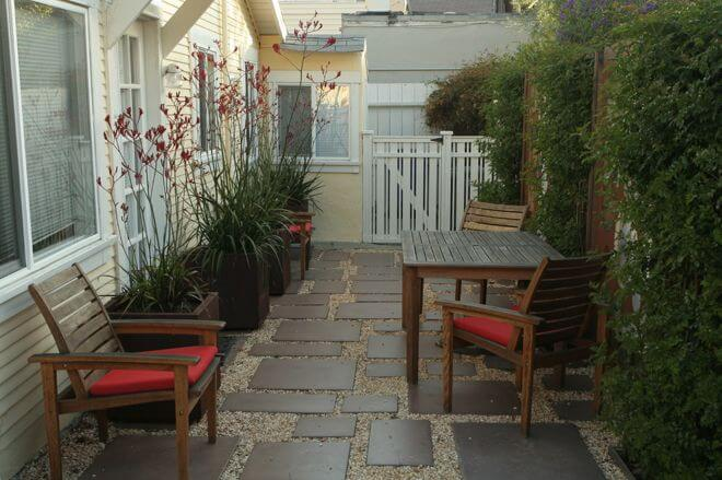 On a narrow patio you may not be able to have a larger table surrounded by chairs and still be able to pass through. But if you consider shoving it to the edge when not in use, you can have the best of both worlds.