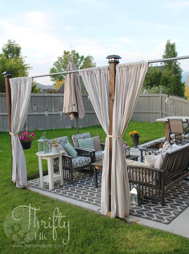 Mounted Curtains With Lounge and Dining Sets