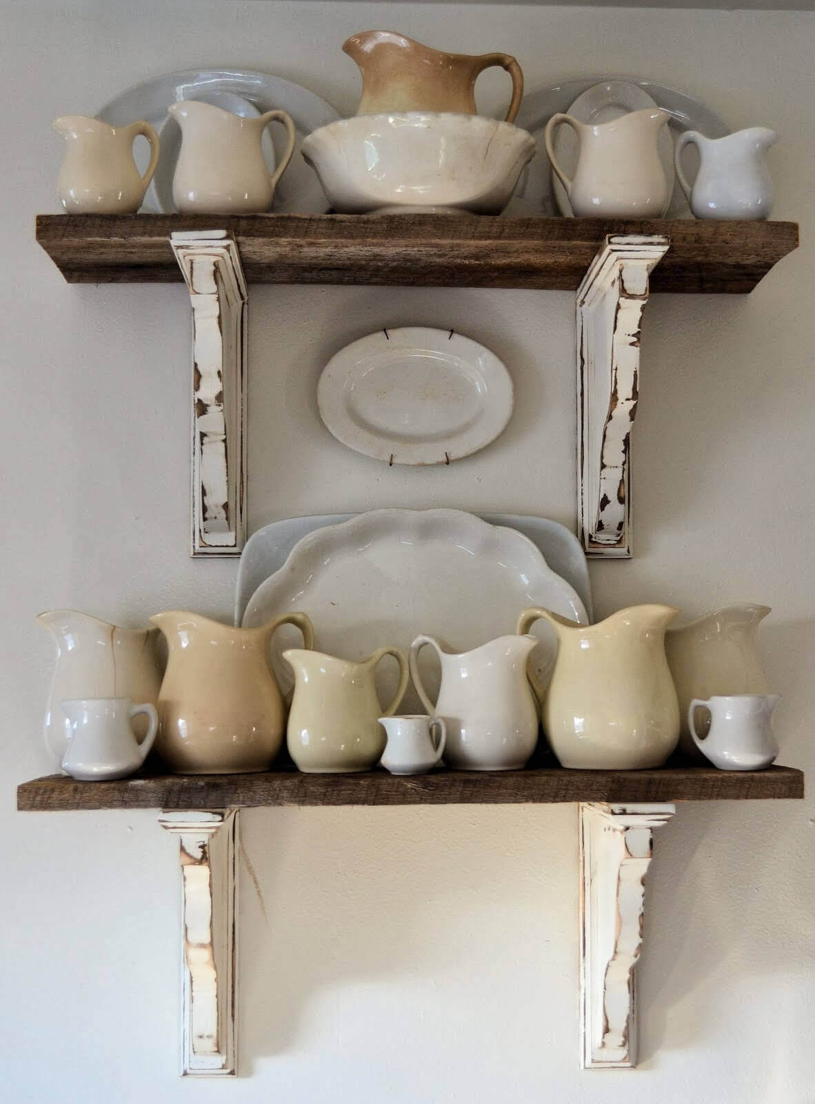 Architectural Salvage Shelves with Antique Ironstone