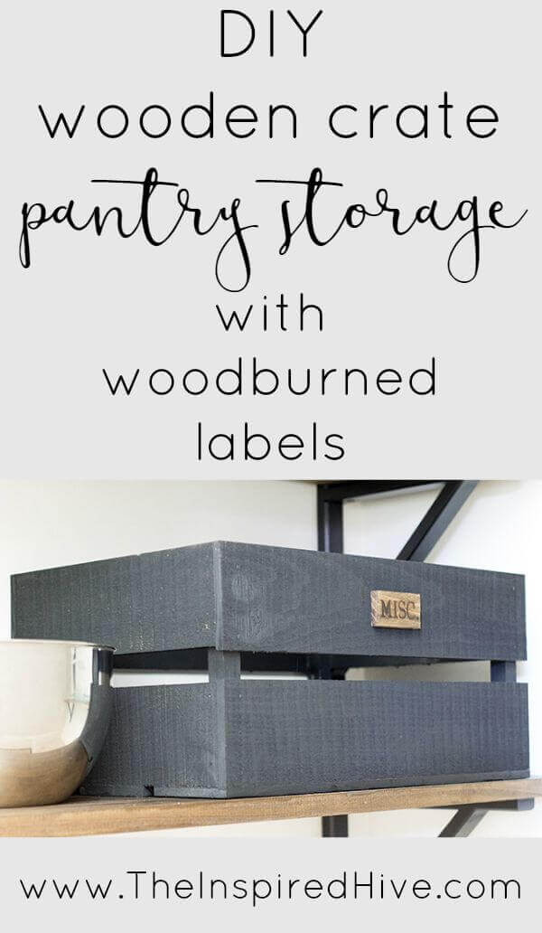 Upcycled Wooden Crate Storage With Labels