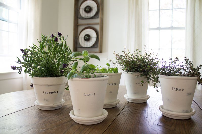 Chalk Painted Herb Planters