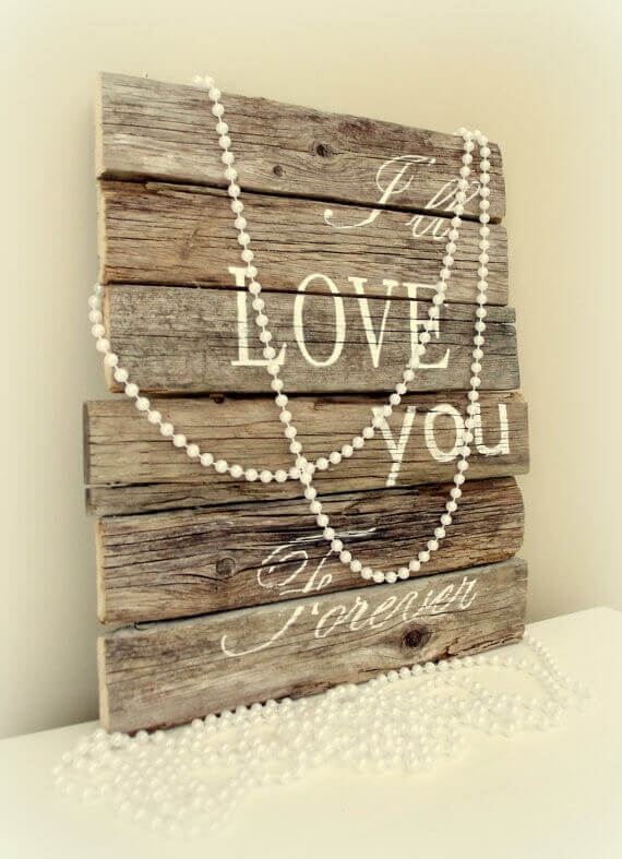 Wood and Pearls Forever Sign