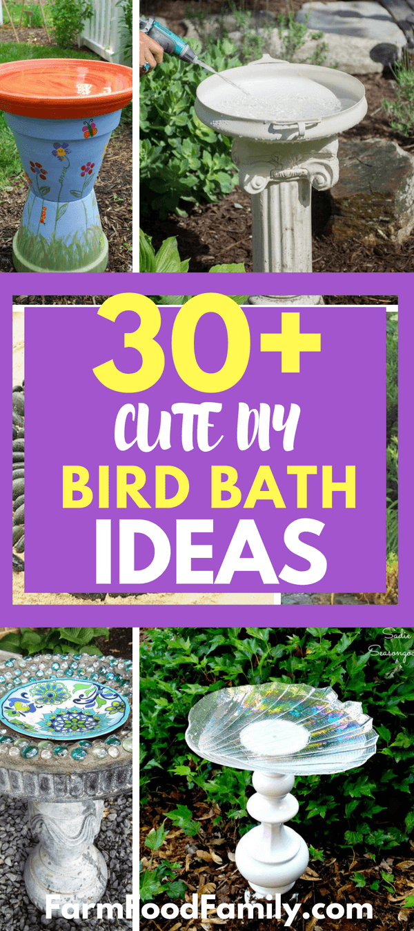 This provides a unique industrial look to your yard. A more difficult idea which is still attainable is making concrete bird baths at home. When you look around your house and garden with fresh eyes, you will find items that you can upcycle into a DIY bird bath. You can also visit the thrift store or a yard sale for materials.