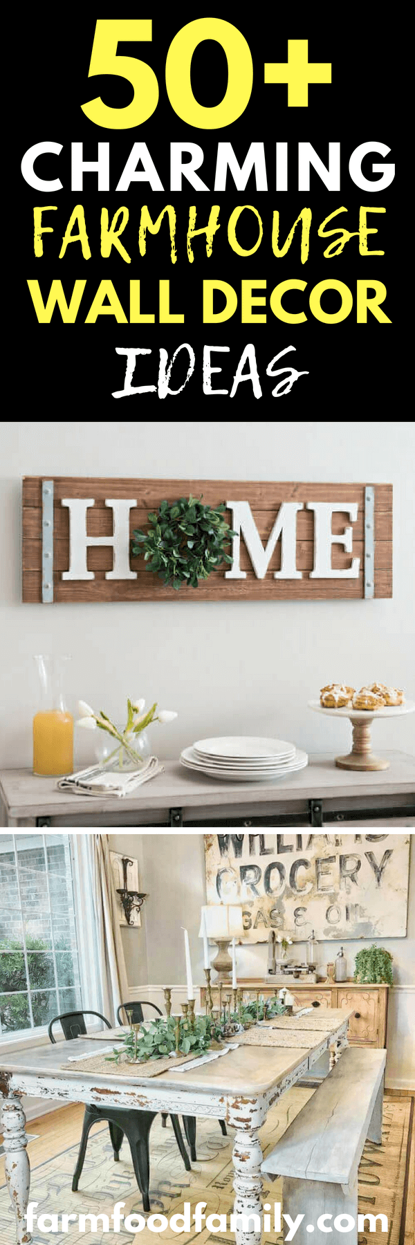 While floor décor and table accents can add up and quickly contribute to a cluttered look, walls are a great way to bring more of the farmhouse aesthetic into your home. The following list has a wide array of designs. Some were made with a specific season or holiday in mind while others offer timeless appeal.