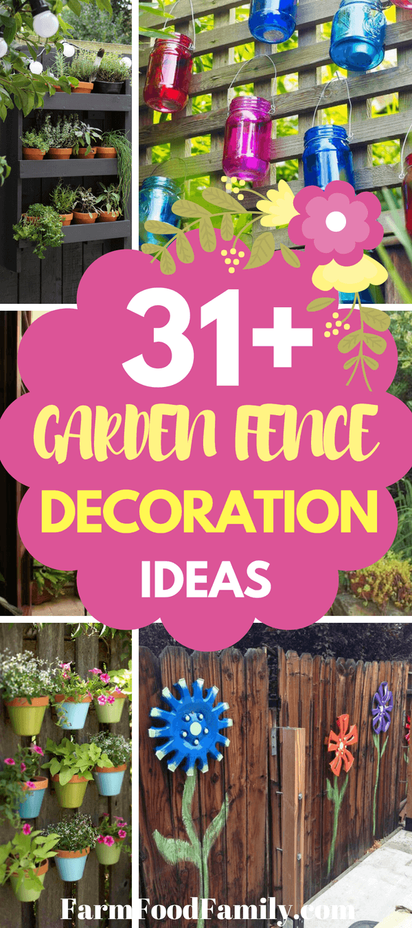 Flowers and herbs decorate the fence in many types of pretty planters. These decorations range from thepractical to the dramatic. One arrangement features dozens of succulents packed into box frames.