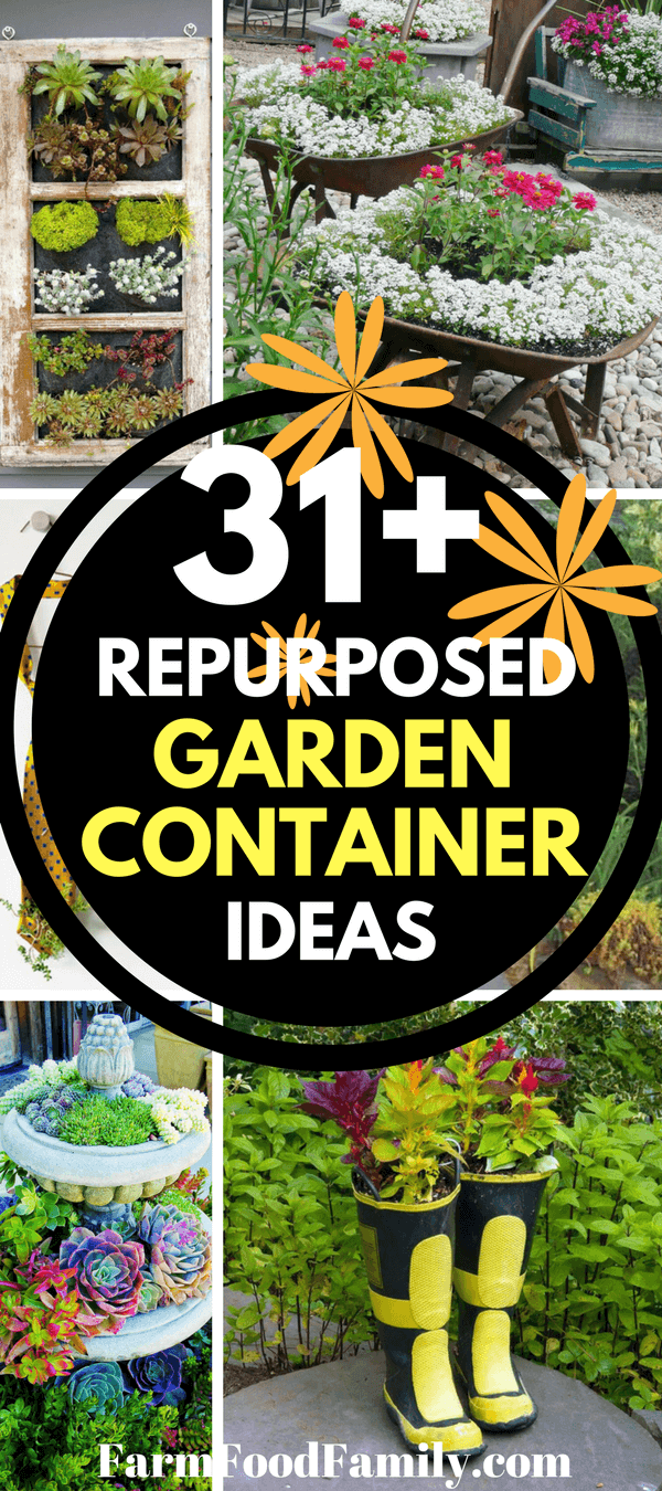 If you're looking for an easy way to bring quirky, individual style to your yard, try these repurposed garden container ideas. Look around your home for old and disused items that may make great additions to your garden. Old pails, doors, kitchen ware, and bicycles make fun planters. You can even visit the thrift store for ideas.