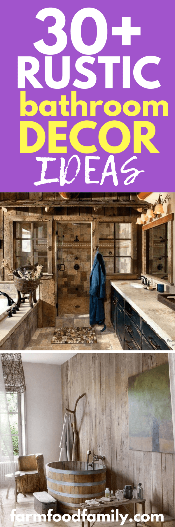 Your budget and bathroom size will also affect the type of design that you will be creating. You won't be able to use a lot of stonework in your bathroom if you have a shoestring budget to work with, so plan wisely and use accessories and accent pieces instead of tackling the entire room. For small bathrooms, a little rustic charm will go a long way.