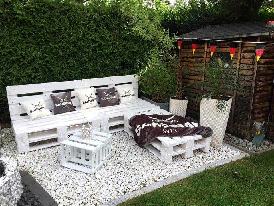 White Bench and Table for Outdoor Gatherings