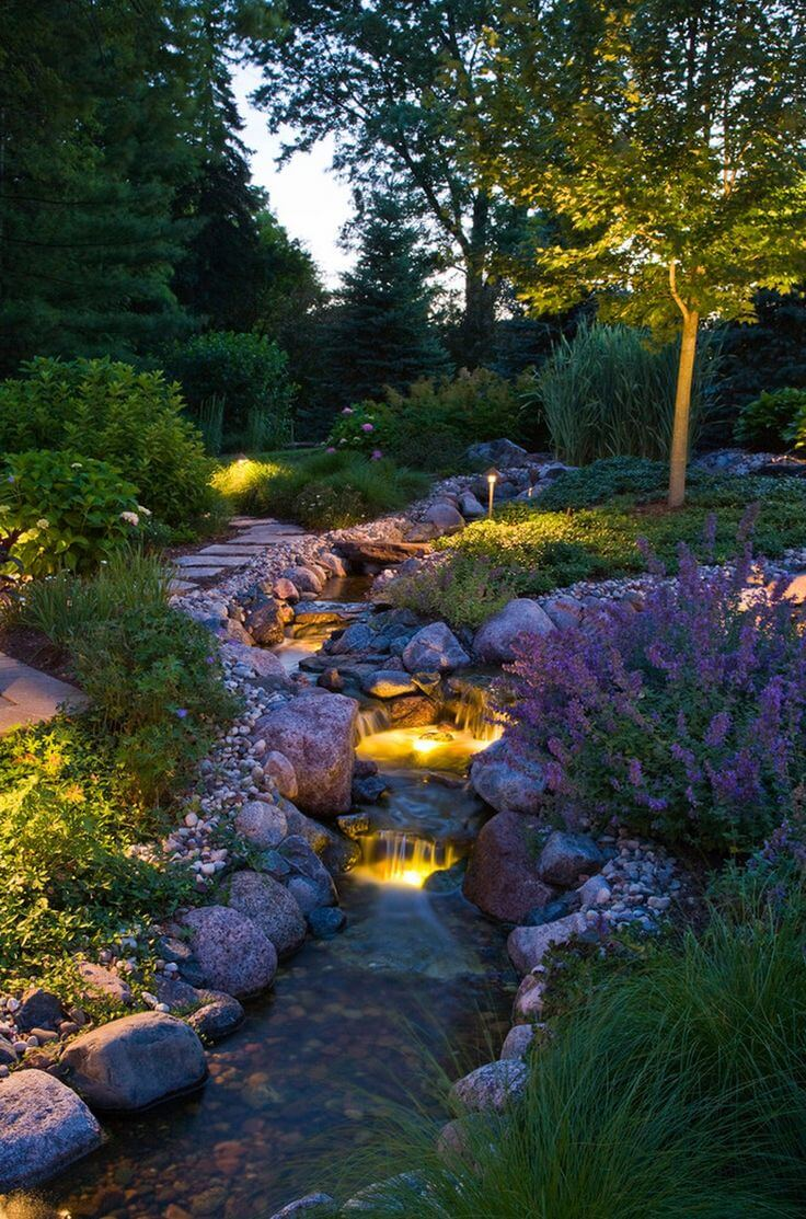 Lighted Waterfall