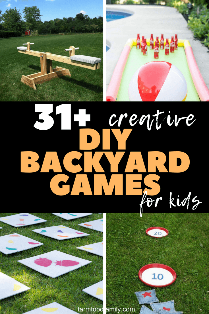 Older children will find outdoor twister or backyard Angry Birds both fun and challenging. There are even options that will appeal to teenagers and adults. Consider setting up a giant Jenga tower or Four In A Row game at your next barbecue or family get-together, and soon kids and adults alike will be enjoying the festivities. #kids #kidsactivities #diy #backyard #farmfoodfamily