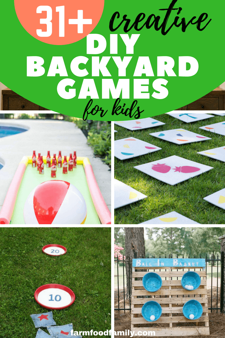 Outdoor DIY games can be as simple or complex as you want. But most require very little money and few tools. Like commercially available lawn sets, they are a great way to get your family out of the house and away from cell phone and TV screens. Younger children will love simple games like Tic-Tac-Toe or ball toss games, and will really enjoy giant bubble wands. #kids #kidsactivities #diy #backyard #farmfoodfamily