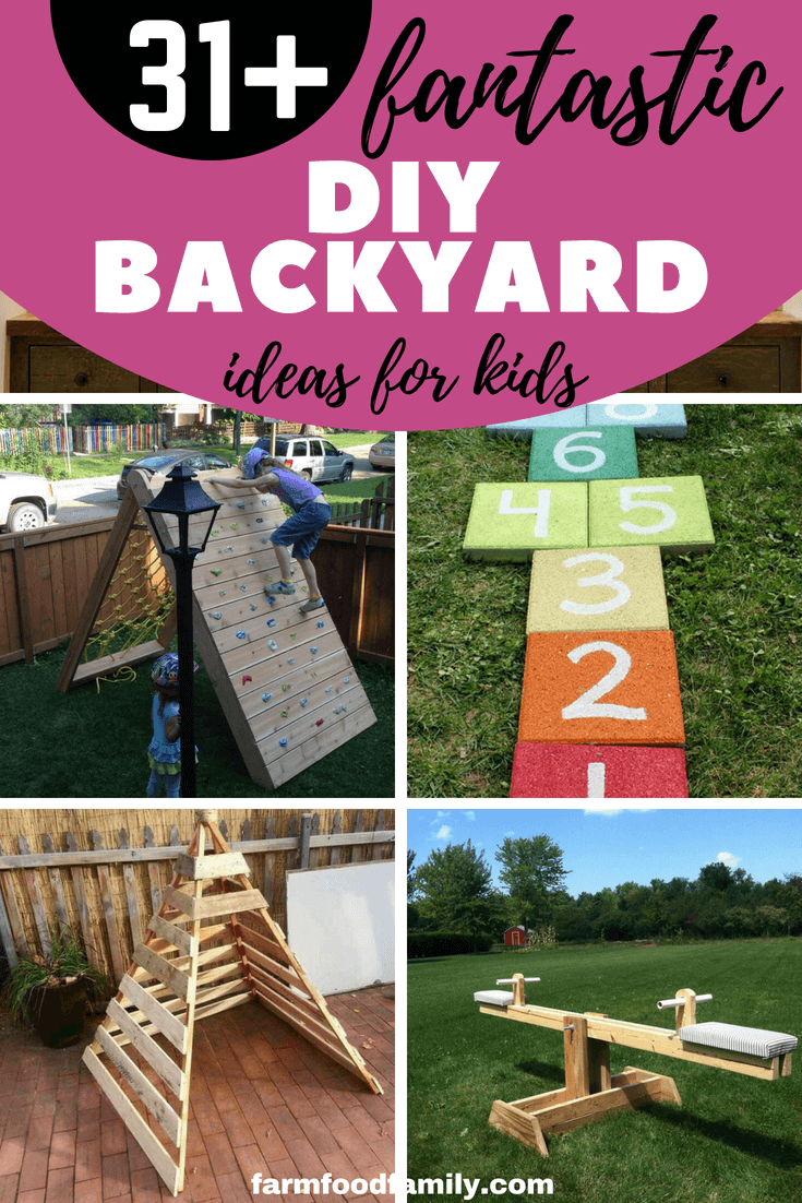 Summer is just around the corner, to helpyour child have a meaningful summer with educational games. We've gathered these 31 exciting diy backyard ideas so your kids can play and relax as well. #kids #kidsactivities #diy #backyard #farmfoodfamily