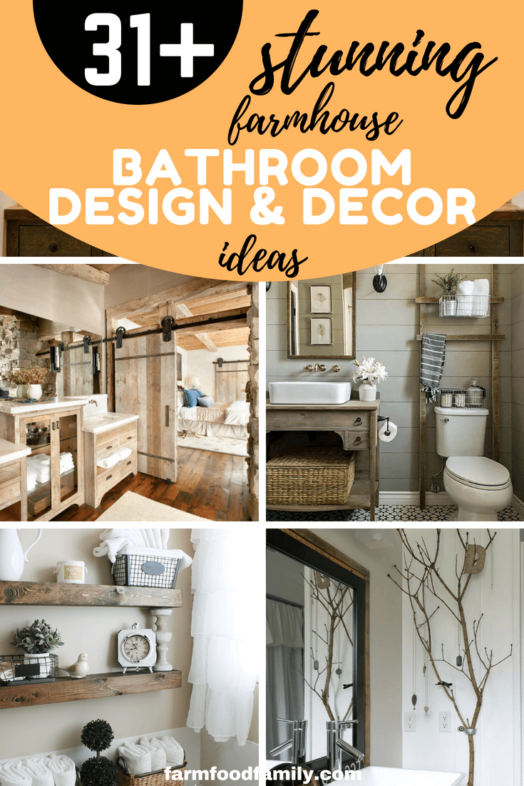 You don't know how to design or decorate your bathroom? You need some ideas? Here we've gathered 31+ stunning farmhouse bathroom decor ideas can help. You will find everything to transform your bathroom on budget and style. #farmhouse #bathroomdecor #diy #farmfoodfamily