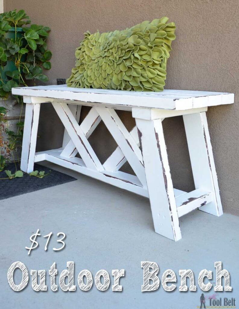 DIY Outdoor Furniture Projects: Painted and Stripped Lattice-Hatch Bench