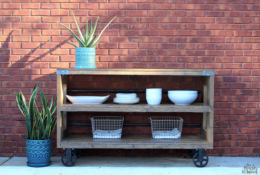 DIY Outdoor Furniture Projects: Steel and Wood Repurposed Rolling Console