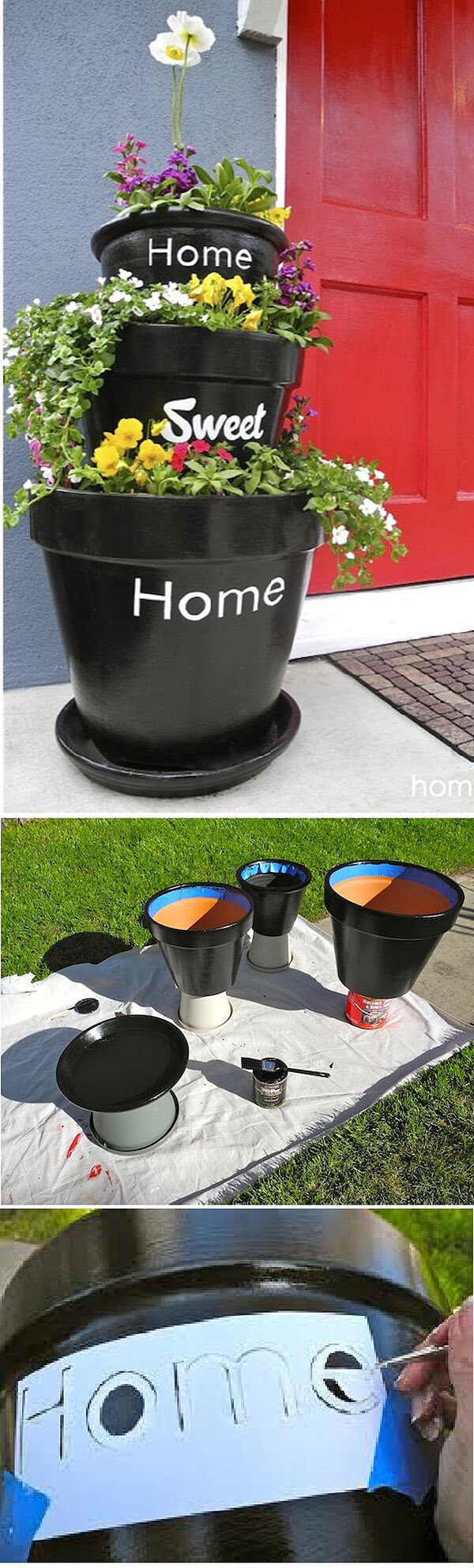 DIY Flower Towers Ideas: Tower with a Message