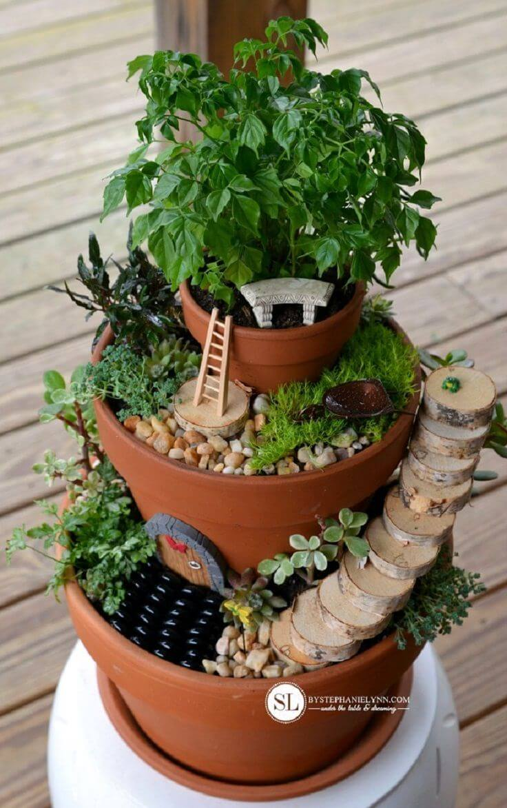 DIY Flower Towers Ideas: Fanciful Fairy House Flower Tower