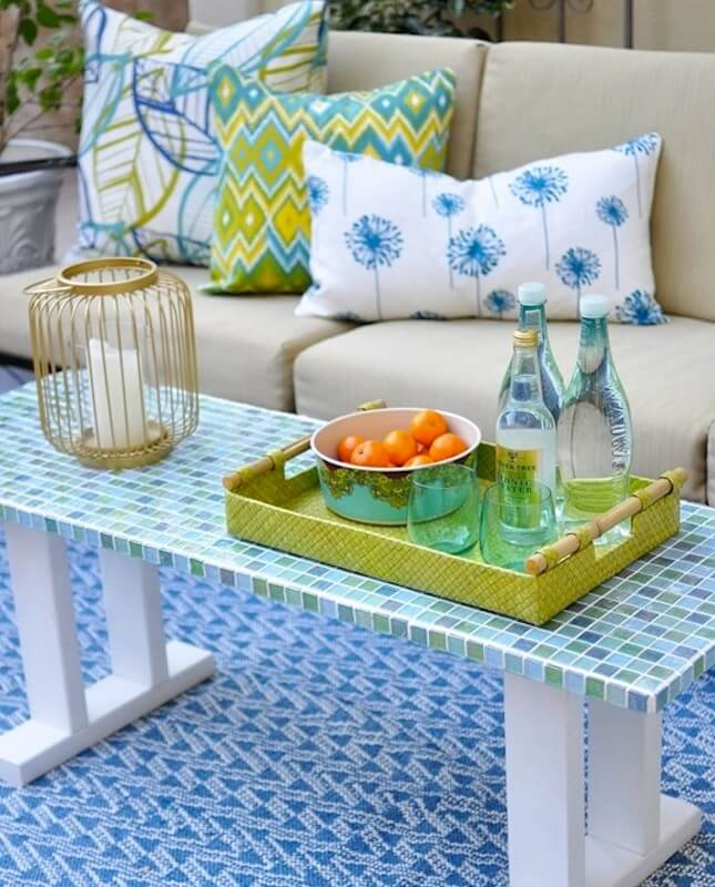 Trendy Glass Mosaic Patio Table