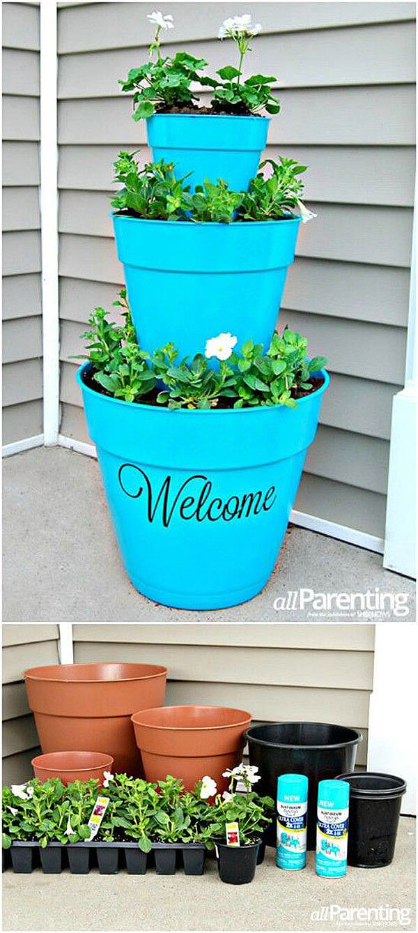 DIY Flower Towers Ideas: Welcoming Front Porch Flower Tower
