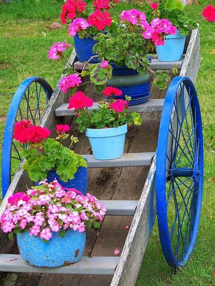 Rustic Wagon Plant Stand