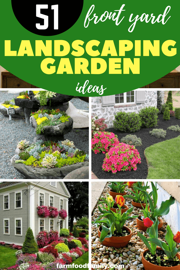 Discover these 51 photos and ideas of front yard landscaping ideas (small, simple and low maintenance) and get ones for your own garden. #landscapingideas #landscapedesign #farmfoodfamily