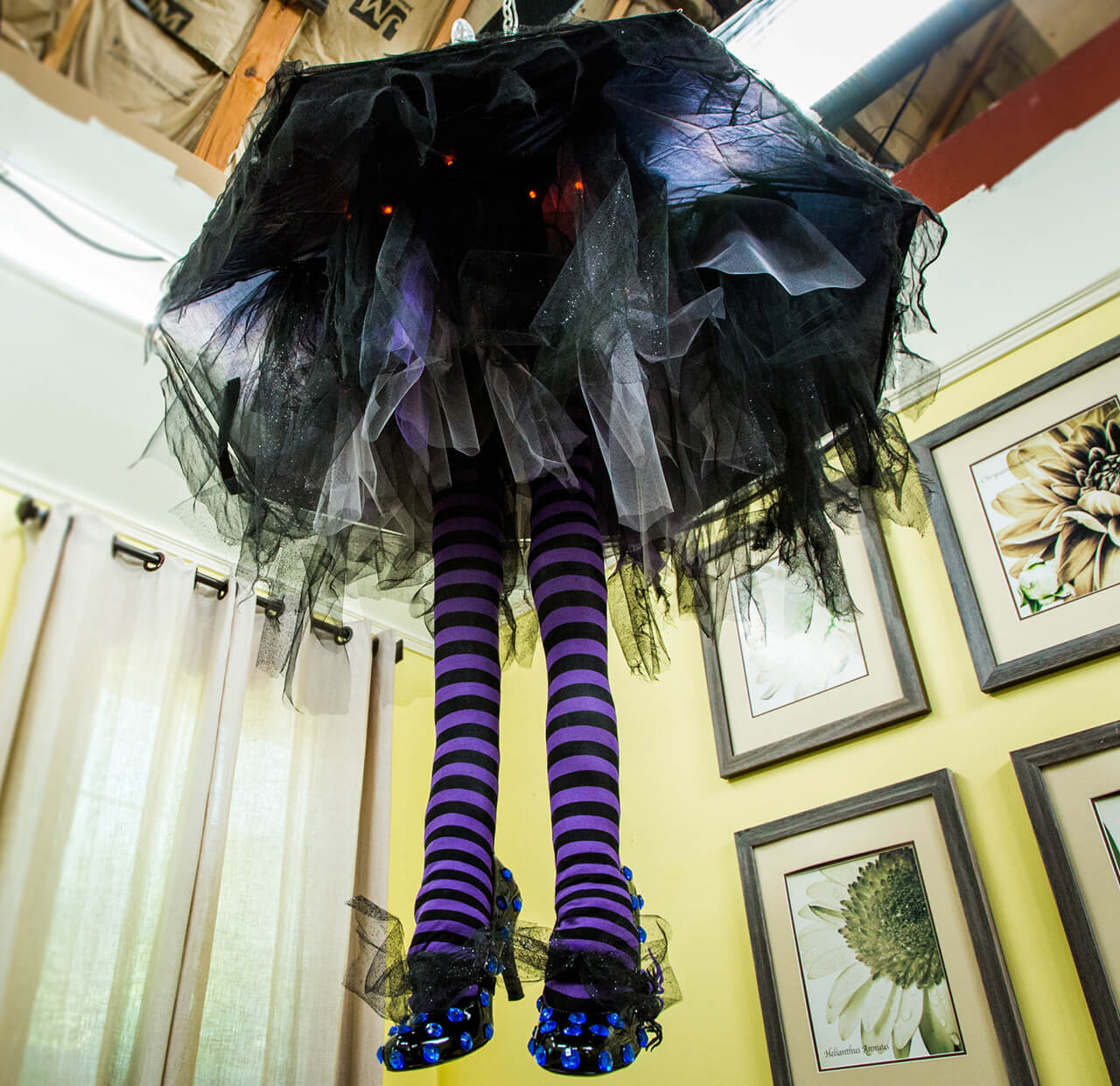 "Spooky Witch Leg ""Chandelier"" Shines 