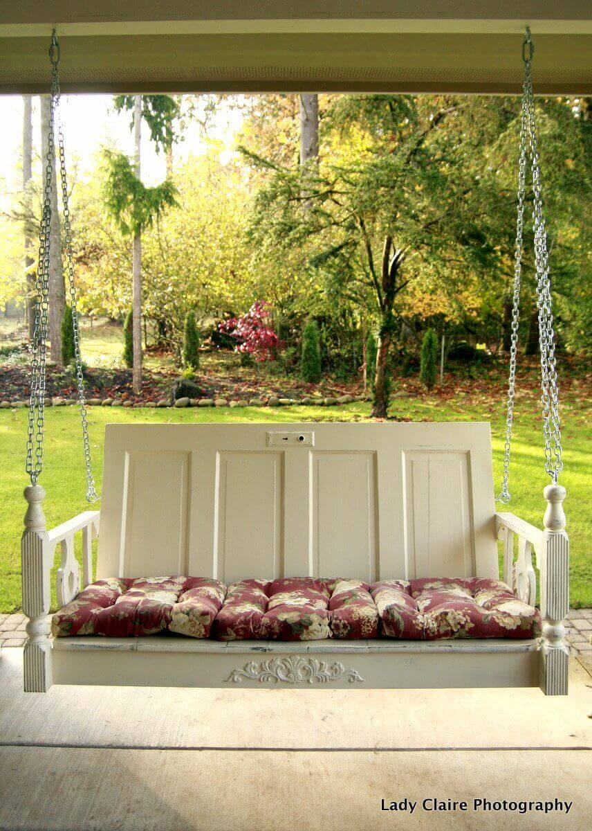 Build a Porch Swing with Old Doors | Creative Repurposed Old Door Ideas & Projects For Your Backyard